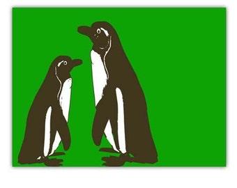 Penguins in Green -  Kids Art Prints, green, silhouette, designs, nursery penguins, nursery decorating ideas