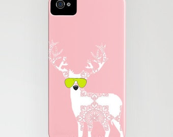 Reindeer with sunglasses on Phone Case - iPhone 5C, iPhone 6S, iPhone 6 Plus, Samsung Galaxy S6, reindeer Gifts, Gift Ideas, Gifts for her