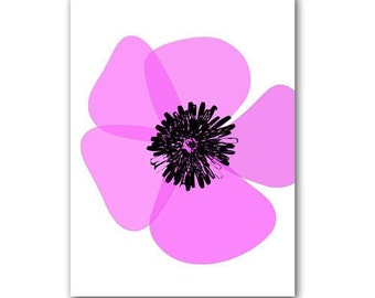 Purple Color Poppy Print, summer, decor, purple flower, poppy, fine art print