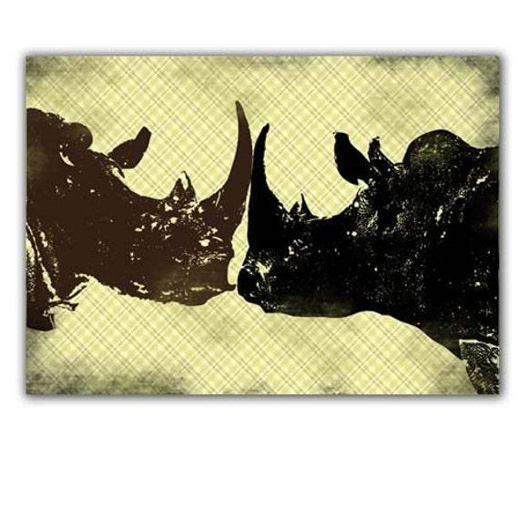 Two Bull Rhinos fighting
