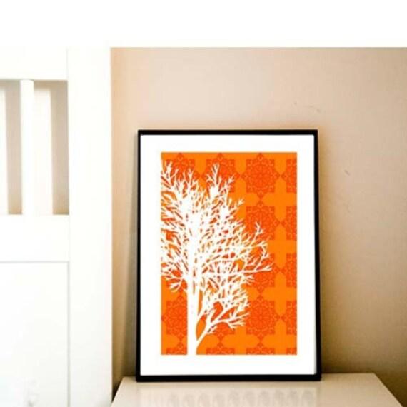 Autumn tree print -  Auntumn season, fall season, orange and yellow , wall decor