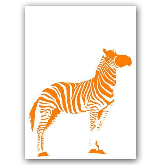 Nursery Zebra -  Kids Art Prints, nursery decor, zoo, animals, orange stripes color, stripes, decor, silhouette, nursery zebra