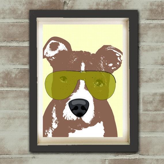 American Pit Bull Terrier Dog - Fine art print, dog lover, sun glasses, wall art, decor, pit bull terrier, Mothers Day