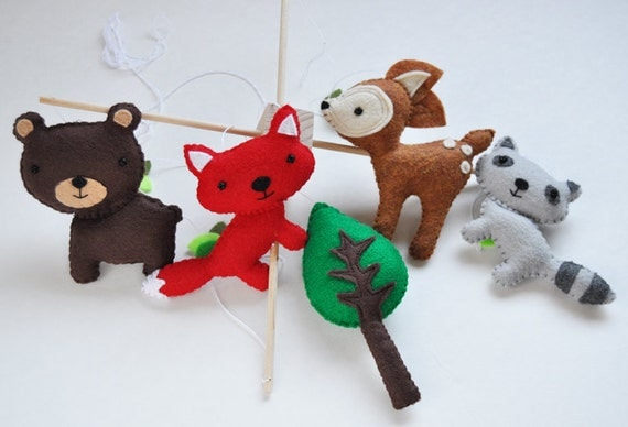 Hanging Woodland Creatures Mobile - Fox, Deer, Raccoon, Bear, and Tree