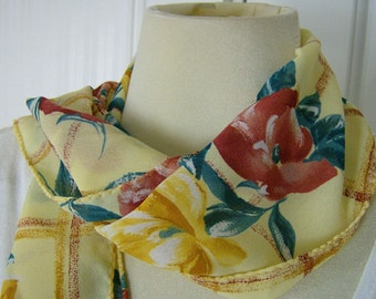 Mustard Yellow Gold Garden Floral Scarf Lemon Fashion Scarf