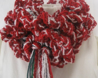 Ruffled Red, White and Green  Fluffy Boa Long Womens Scarf