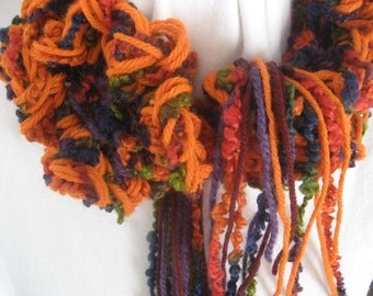 Ruffled Scarf Orange Olive Grape Harvest Fluffy Neckwarmer