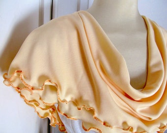 Ruffled Peachy Yellow Infinity Scarf Buttercup Nectarine Ruffled Edge Cowl