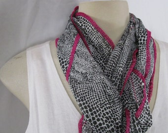 Pink Black White Long Scarf Fuchsia Pink Trim Black and White Snakeskin Print