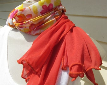 Tangerine Lemon Zest Floral Orange Ruffle Scarf in Tropical Citrus Colors