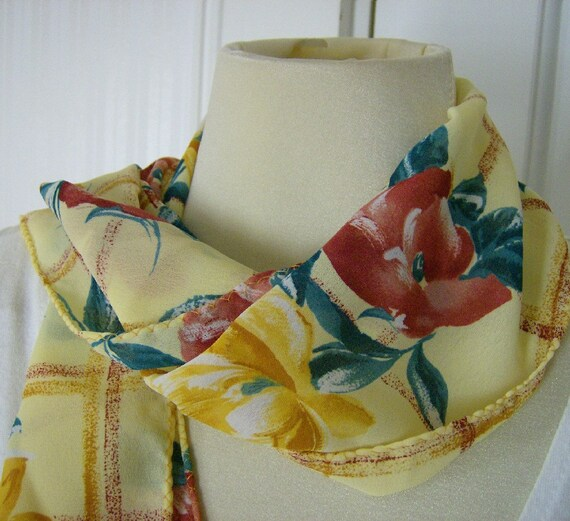 Yellow Gold Garden Floral Scarf Lemon Fashion Scarf