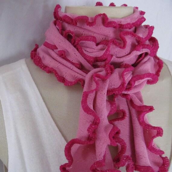 Pink Carnation Fuchsia Ruffled Edge Scarf
