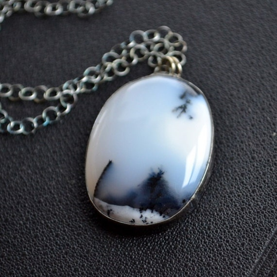 Dendritic Opal Necklace Sterling Silver Metalwork Merlinite - Thundersnow