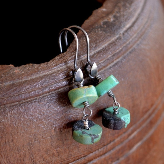 Turquoise Earrings Sterling Silver Wire Wrapped