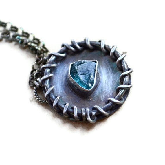 Natural Raw Apatite Necklace Sterling Silver Metalwork