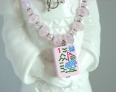 Mah Jong Necklace / Mah Jong Tile Necklace / Pink Mah Jong Tile Necklace / Pink Crystals / Asian / Mahjong / Mah Jongg / Mahjongg / Majongg