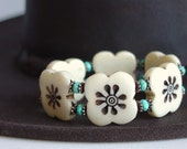 Flower Bracelet /Hand Carved Bone / Turquoise / Outback / Rugged / Country / Beauty / Island Style / Bohemian / Ethnic Inspired / Cowgirl