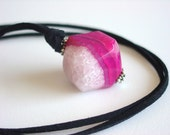 Pink Agate Necklace / Striped Agate / Pink / Hot Pink / White / Agate / Necklace / Bright Pink / Long Necklace / Black / Fun Gift / Fuschia