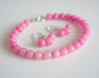 Pink Jade Earrings / Pink Jade Bracelet / Matching Set / Pink Jade / Sterling Silver / Earrings / Bracelet / Sweet / Pink / Candy / Pastel