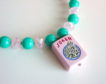 Joker Necklace made from Pink Mah Jong Tile with Aqua Glass and Pink Crystals / OOAK Necklace / Original / Fun / Cute / Asian / Dragon