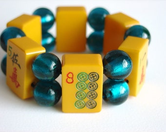 Mahjong Bracelet / Genuine Bakelite / 1930s Mah Jong Tiles / Teal Glass Beads / Vintage / Handmade / One of a Kind / Jewish / Asian / Gift