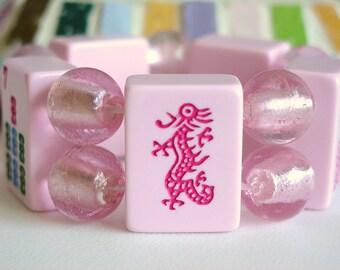 Mah Jong Bracelet / Mahjong Bracelet / Mahjongg Bracelet / Mah Jongg Bracelet / Pink / Mah Jong Tiles / Dragon / Bubble Gum / SMALL / Cute