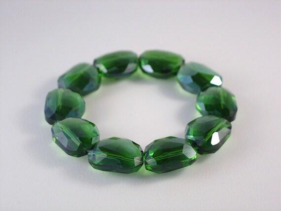 Emerald Green Chunky Faceted Asymmetrical Crystal Bead Bracelet LG