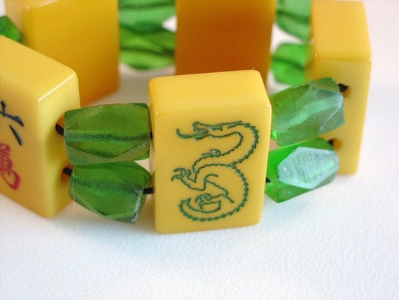 Mahjong Bracelet / Vintage / 1940s / Recycled Green Glass / Dragon Tile / Orange & Green / Chunky / Colorful / Unique / Catalin Tiles / MED