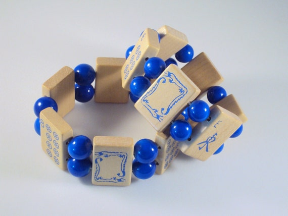 Mah Jong Bracelet with Vintage 1960's American Boxwood Tiles & Blue Glass / Mah Jong Bracelet / Mahjong / Ma Jong / Mahjong / Mahjongg / MED