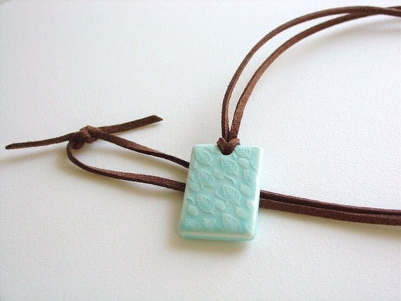 Long Necklace / Pastel Aqua Pendant / Leaves Pendant / Brown Suede Cord / Simple Necklace / Over the Head Necklace / Sweet / Minimalist