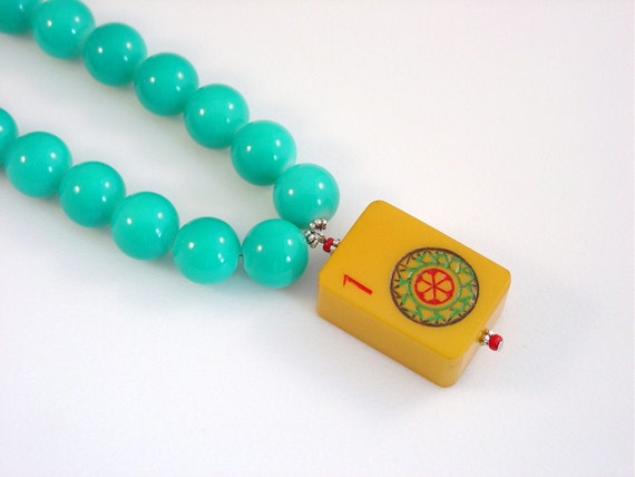 Mah Jong Necklace/ Vintage Bakelite Tile / Chunky Turquoise Beads / Fun Necklace / Game Piece Necklace / Vintage Bakelite Tile