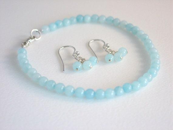 Blue Jade Bracelet / Blue Jade Earrings / Simple Jewelry / Delicate / Feminine / Sweet / Jewelry Set / Matching Set / Sterling Silver & Jade