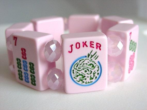 OOAK Mah Jongg Bracelet features Joker Tile with Pink Crystals / Fun / Mah Jong / Ma Jong / Mahjong / Majongg / Mahjong / Mah Jongg / Fun