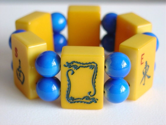 Mahjong Bracelet / Mah Jong Bracelet / Vintage / Winds / Dragon / Mah Jong Tiles / Traveler / North / South / East / West / Catalin / LG