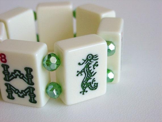 Lime in the Coconut / Mah Jong Bracelet / Cream / Green / Majong Bracelet / Mahjong Bracelet/ Mahjongg Bracelet / Majongg Bracelet / Dragon