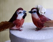 CLEARANCE SALE - Flapper Love Bird Cake Topper: Rustic Bride and Groom Love Bird Wedding Cake Topper - Anniversary / Holiday Decoration