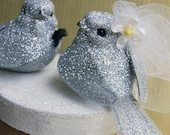 Glittery Love Birds Wedding Cake Topper in Tinsel LAST PAIR