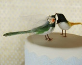 Flocked Birds Wedding Cake Topper in Forest Green and Sunshine Yellow