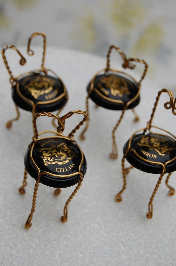 Miniature Champagne Cage Chair Place Card Holders for Weddings or Parties Set of Four