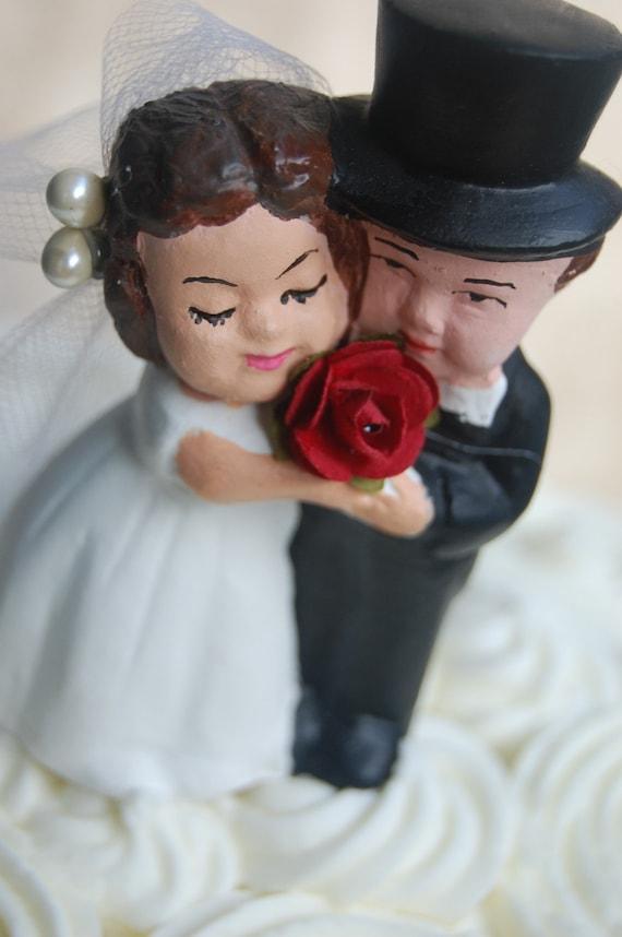 Refurbished Vintage Chalkware Bride and Groom Wedding Cake Topper