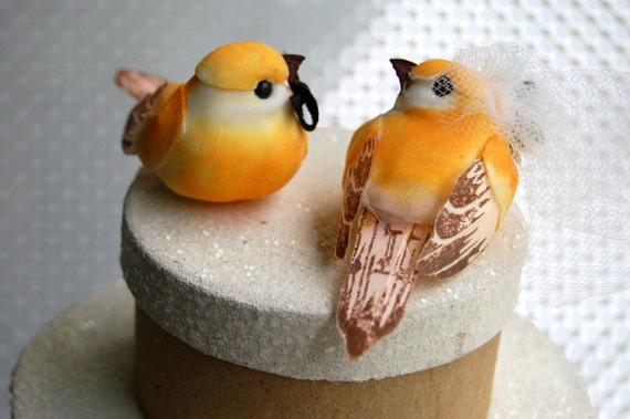 Dainty Love Bird Bride and Groom in Tangerine Orange