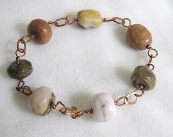 Hand-Cut Feldspar Bead and Copper Bracelet RKMixables Collection RKM162