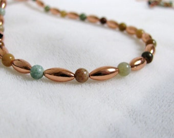 Copper and Gemstone Bead Necklace 21 inches,  RKM199
