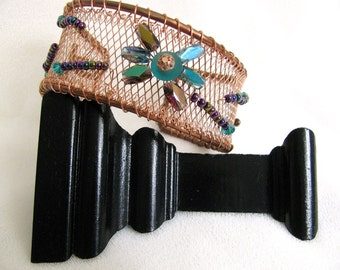 Copper Bracelet Cuff with Irridescent Turquoise and Purple Glass Beads RKM216