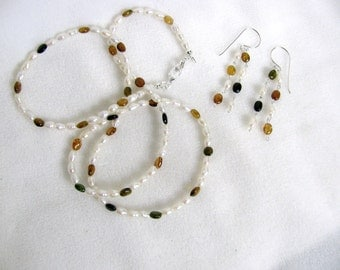 Freshwater Pearl and Petro Tourmaline Fall Shades Necklace RKS142