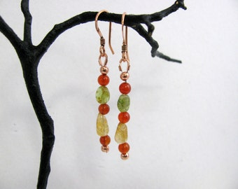 Carnelian, Citrine, Peridot and Copper Earrings, RKMixables Copper Collection, RKM293