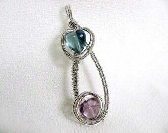 Woven Sterling Silver Wire Fluorite Hearts Pendant RKS161