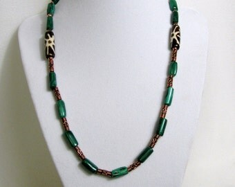 Malachite Bone and Copper Beaded Necklace RKMixables Copper Collection RKM327