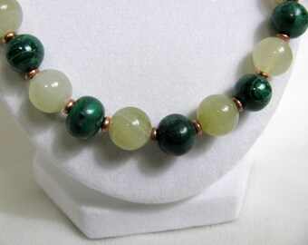 Malachite Onyx and Copper Bead Necklace RKMixables Copper Collection RKM330