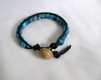 Crazy Lace Agate Black Leather Wrap Bracelet RKMixables RKM351
